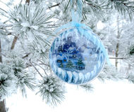 Christmas decoration composition on fir background Stock Photos
