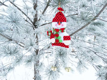 Christmas decoration composition on fir background Royalty Free Stock Image