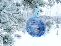 Christmas decoration composition on fir background Royalty Free Stock Photography