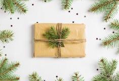 Christmas decoration composition gift box spruce fir brunch glitter stars Stock Photo
