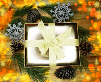 Christmas decoration composition gift box on wooden background Royalty Free Stock Photography