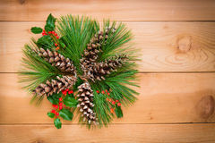 Christmas decoration composition of pine cones and branches with royalty free stock photo