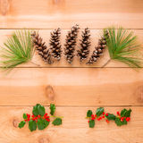 Christmas decoration composition of pine cones and branches on royalty free stock images