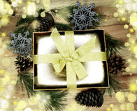 Christmas decoration composition on wooden background Stock Image