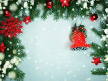 Christmas decoration composition on wooden background Stock Photo