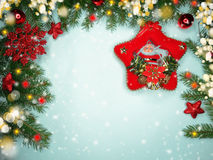 Christmas decoration composition on wooden background Royalty Free Stock Photos