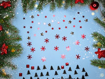 Christmas decoration composition on wooden background Stock Images