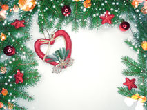 Christmas decoration composition on wooden background Royalty Free Stock Images