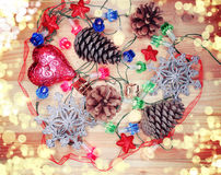 Christmas decoration composition on wooden background Royalty Free Stock Photo