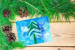 Christmas decoration composition on wooden background Stock Photography