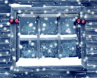 Christmas decoration composition on wooden background window Stock Photos