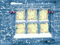Christmas decoration composition on wooden background window Stock Photography