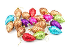 Christmas decoration cones on white. Background royalty free stock photography