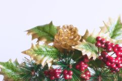 Holly and fircone. Christmas decoration consisting of artificial golden fir cone and holly with red berries. White background Stock Photos