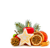 Christmas decoration and cookie. Royalty Free Stock Photo