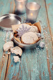 Christmas decoration, cookies, candles. Stock Photos