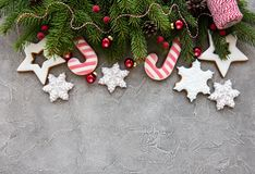 Christmas decoration with cookies stock photography