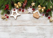 Christmas decoration with cookies. On a old wooden table royalty free stock images