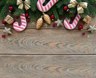 Christmas decoration with cookies. On a old wooden background royalty free stock images