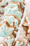 Christmas decoration with cookies in the shape of snowflakes and stars on a white background stock photography