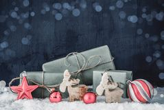 Christmas Decoration, Copy Space For Advertisement, Bokeh, Snow stock photo