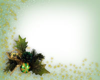 Christmas Decoration corner design. Photo and illustration composition of Christmas Decoration of Pine cone, present and baubles with illustrated stars scattered Royalty Free Stock Photos