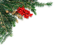 Christmas decoration on corner of white background Stock Photos