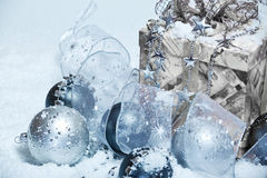 Christmas decoration covered with snow Royalty Free Stock Photos
