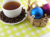 Christmas decoration with cup of coffee and coffee beans Stock Images