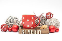 Christmas. Decoration, cup and cookies Stock Photos