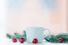 Christmas decoration and cup Royalty Free Stock Photo