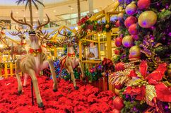 Christmas decoration in The Curve Mall which is located in Mutiara Damansara. People can seen exploring and shopping around it. Stock Photos
