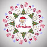 Christmas decoration. Cute santa claus, tree and snowman. New year party banner. Vector doodle art Royalty Free Stock Images