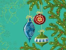 Christmas decoration. Vector illustration of Christmas decorations hanging on the Christmas tree branches Royalty Free Stock Images