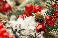 Christmas Decoration, Decorative Pine Cone Red Berry Stock Photos