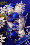 Christmas decoration in deep blue colors Royalty Free Stock Images