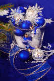 Christmas decoration in deep blue colors Royalty Free Stock Photo