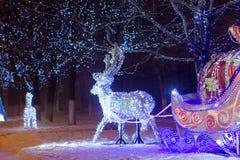 Christmas decoration deer  lights  night  ornament Royalty Free Stock Image
