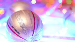 Christmas decoration, defocused background and christmas ball stock video footage