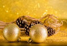 Christmas decoration on defocused lights backgroun Royalty Free Stock Photography