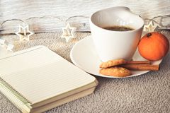 Winter weekend. Christmas decoration Delicious home made    cinnamon cookies mandarin, ,cup of coffee  on balcony in a snowy day Lazy winter weekend with a book Stock Photography