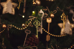 Christmas decoration details, keys on the tree. Royalty Free Stock Photos