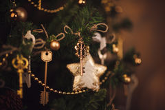 Christmas decoration details, keys on the tree. Royalty Free Stock Images