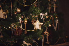 Christmas decoration details, keys on the tree. Stock Photography