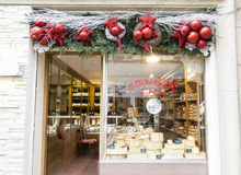 The christmas decoration of diary shop in strasbourg. Stock Image