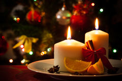 Christmas decoration on dining table Royalty Free Stock Photos
