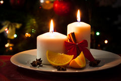 Christmas decoration on dining table Royalty Free Stock Images