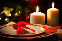 Christmas decoration on dining table Stock Photos
