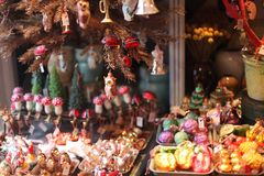 Christmas Decoration Display in Holiday Shop in. Copenhagen, Denmark: Xmas decor store merchandise. Glass baubles for Christmas tree. Abundant collection Royalty Free Stock Photography