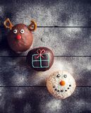Christmas decoration on donuts Royalty Free Stock Image